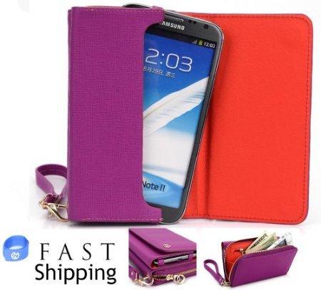 Magenta Universal Smartphone Wristlet Fashion Wallet [Uptown Series] for BLU Quattro 5.7 HD Mobile + EnvyDeal... (Series Uptown)
