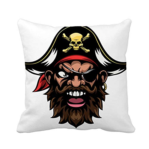 Awowee Throw Pillow Cover Face Cartoon Mean Tough Looking Pirate Sports Mascot Character 18x18 Inches Pillowcase Home Decorative Square Pillow Case Cushion Cover -