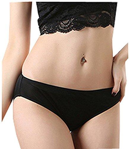 (METWAY Women's Silk Underwear No Show Sexy Mulberry Silk Panties Small Black)