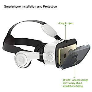 LUPHIE VR Headset, 3D Virtual Reality Glasses with Stereo Headphones and Adjustable Strap for iPhone & Android Smartphones within 4.7-6.2 inches from luphie