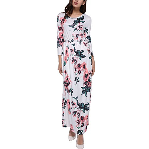 DANALA Women's Floral Printed Dress Tie Waist Long Sleeve Empire Floor-Length Dress White Size XXL (Empire Dress Printed Tie)