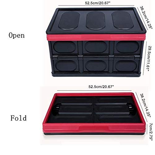 Genetic Los Angeles 55L Collapsible Plastic Storage Box Durable Stackable Folding Utility Crates with Lid Black Color