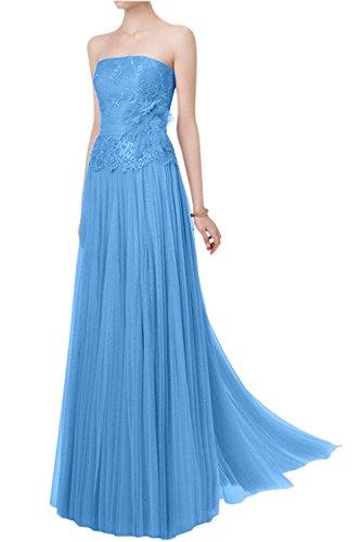 La_mia Braut Damen Spitze Traegerlos Brautmutterkleider Abendkleider Abschlussballkleider A-linie Lang Neu Blau