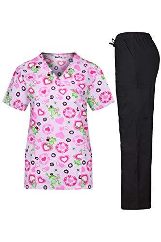 MedPro Women's Medical Scrub Set Mock Wrap Top and Cargo Pants Lt Pink Green XS ()