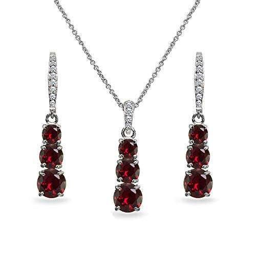 Sterling Silver Created Ruby 3-Stone Journey Pendant Necklace & Dangle Leverback Earrings Set for Women Teen -