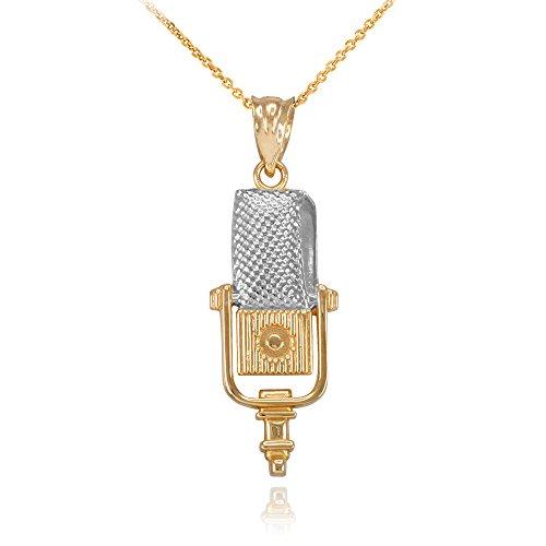 Collier Pendentif Blanc et 14 ct Or Jaune Deux Tons Studio Microphone Musique (Livré avec une 45cm Chaîne)