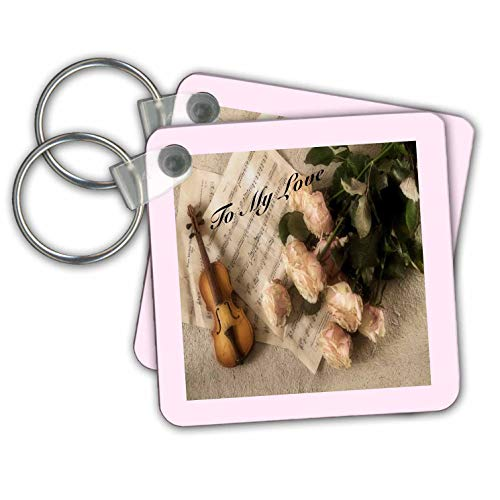 (lens Art by Florene - Music - Image of Romantic Pink Roses Violin And Notes Say To My Love - Key Chains - set of 2 Key Chains (kc_308082_1))