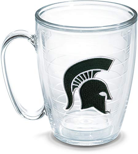 Michigan State Spartans Coffee Mug - Tervis 1052852 Michigan State Spartan Emblem Individual Mug, 16 oz, Clear