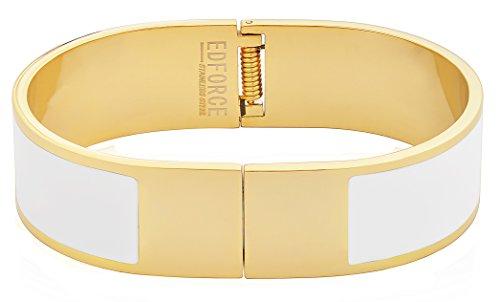 EDFORCE Stainless Steel Women's 18k Gold Plated Bangle Bracelet H-Buckle Enamel Open Ended Stackable (White)