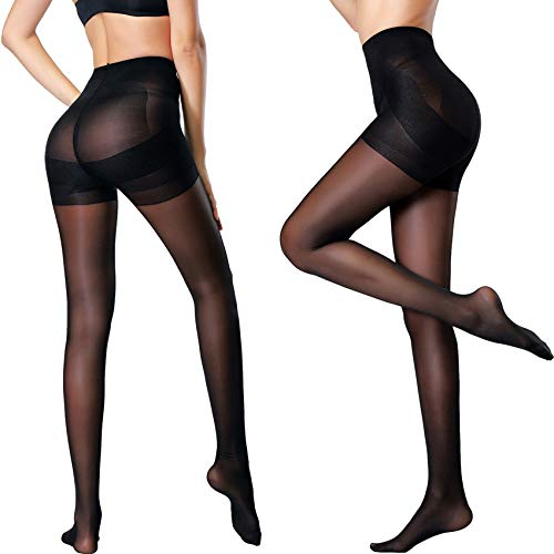 - MERYLURE 2 Pairs Women's Semi Opaque Shaping Pantyhose Control Top Push Up Tights Compression Stockings (B, Black,2 Pairs)