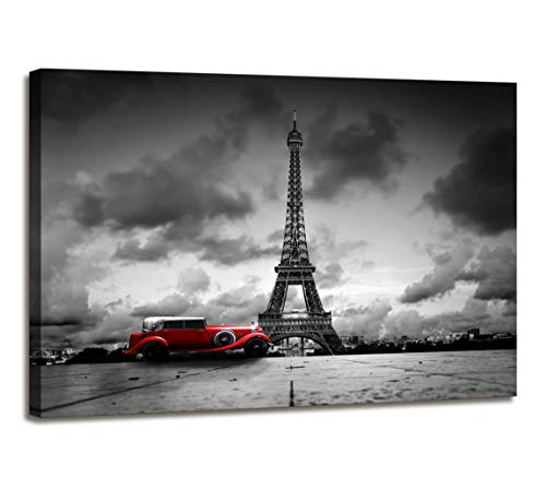 Paris Decor for Bedroom Eiffel Tower Decor Black and White Wall Art Vintage Red Car Decor Paris Painting Canvas Cityscape Wall Pictures Print Wall Decorations for Bedroom Bathroom Framed Wall - Cityscape Red