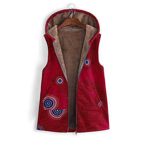 ANJUNIE Women Warm Vest Outwear Vintage Geometric Print Hooded Oversize Coat with Pockets (Red,XXXXXL) ()