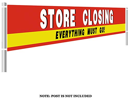 Colormoon Large Store Closing Sign Banner, Everything Must GO Advertising Banner, Retail Store Shop Business Sign, Going Out of Business Sale (9.8 x 1.5 feet)