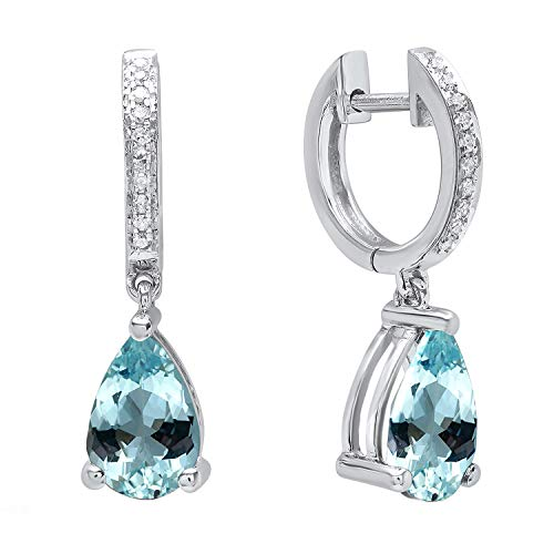 Dazzlingrock Collection 14K 9X6 MM Each Pear Aquamarine & Round Diamond Ladies Dangling Drop Earrings, White Gold