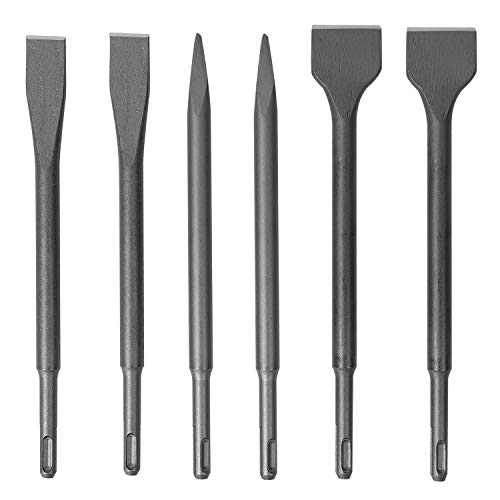 KINJOEK 6 PCS Chisel Set, SDS Rotary Hammer Drill Bit Set with Carrying Case, Pointed Chisels Flat Chisels Wide Chisels