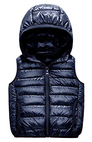 IKALI Kids Puffer Down Vest, Ultralight Hooded Sleeveless Jacket Waistcoat for Toddler Boys Girls Outwear