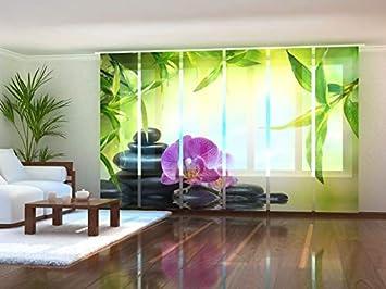 bedruckt mit Motiv Fotogardine Orchidee auf Maß Flächenvorhang Schiebegardine