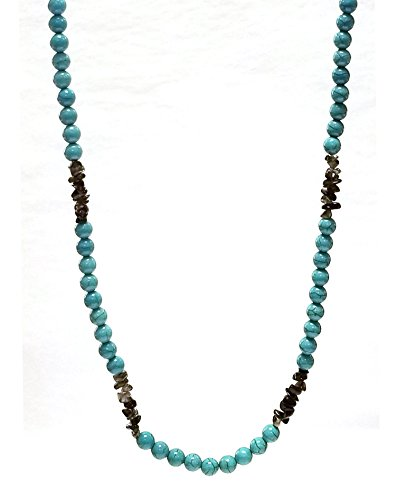 Regalia by Ulti Ramos Gorgeous Reconstituted Turquoise and Smoky Quartz Necklace 18
