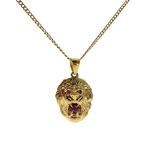 Traxnyc Genuine Stamped 10K Yellow Gold Cuban Curb Link Chain Small Charm Pendant Necklace [Assorted Sets] (Lion Head + 20 Inches -