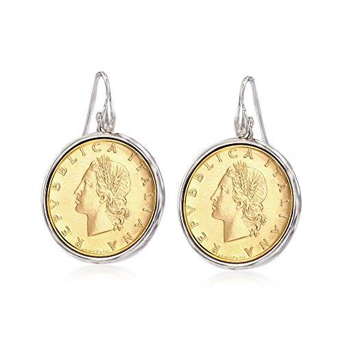 Ross-Simons Italian Genuine 20-Lira Coin Drop Earrings in Sterling Silver (Roman Coin Earrings)