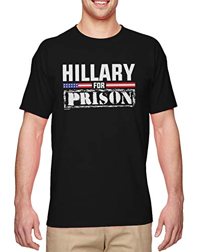 Hillary for Prison - Trump MAGA Election 2020 Men's T-Shirt (Black, XX-Large)