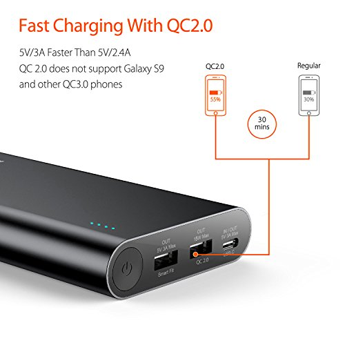 USB C Portable Charger, Jackery Titan S 20100mAh 30W Total Output QC2.0 Qualcomm Quick Charge External Battery, Type-C Port for Nintendo Switch, Macbook, Nexus, Samsung and More - Black