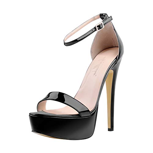 Onlymaker Women's Sexy Ankle Strap Open Toe Platform Stiletto Sandals Single Band High Heel Party Dress Shoes Black US7