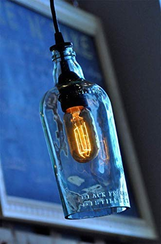 Recycled Plymouth Gin Bottle Hanging Pendant Lamp - Rustic Light - Farmhouse Light - Modern Rustic Decor