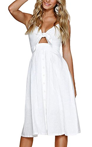 Yidarton Womens Dresses-Summer Spaghetti Strap Tie Front Button Down Sexy Backless Midi Dress (Medium, White)