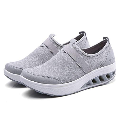Grueso Quicklyly Gruesa Deportivo Con Zapatillas Casual Corriendo zapatos Gris Suela Cuña calzado De Mujer Y Tacón PSqOPr