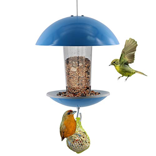 LIMEIDE Wild Bird House Feeder Hanging for Garden Yard Outside,Gift idea for Parents (Blue)