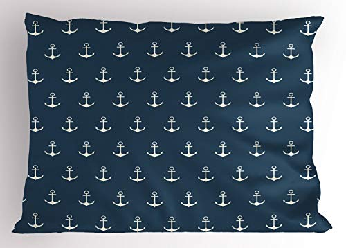 Ambesonne Anchor Pillow Sham, Nautical Pattern with Classic Colors and Anchors Simplistic Design Sailor Ship Print, Decorative Standard Size Printed Pillowcase, 26 X 20 inches, Blue White