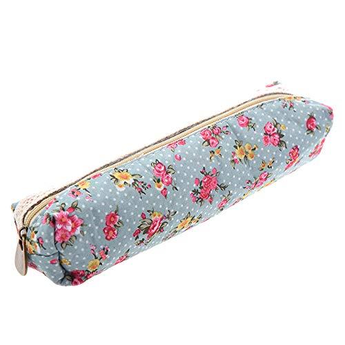 Fashion Colors Roller Ball Pen - WomenS Flower Floral Lace Pencil Pen Cosmetic Bag Zipper Pouch Sky Blue L1Z3