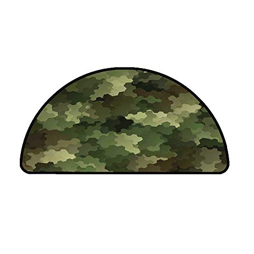 """Camo Comfortable Semicircle Mat,Frosted Glass Effect Hexagonal Abstract Being Invisible Woodland Army for Living Room,19.6"""" H x 39.3"""" L"""