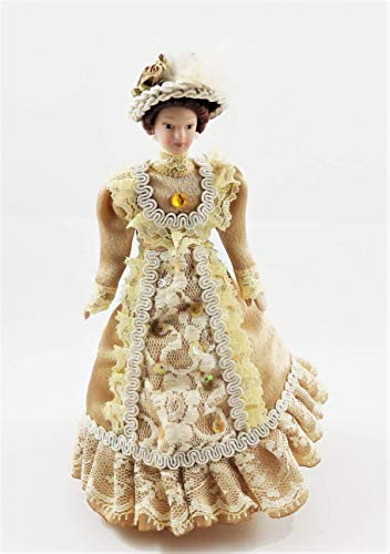 (Melody Jane Dollhouse Victorian Lady in Coffee Outfit Porcelain 1:12)