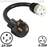 14-30P 4-Pin Male Dryer Plug To 5-20R 3-Prong Female Socket Receptacle Outlet Electric Power Cord Cable Adapter/Converter NEMA 220/250V input 220/250V Output. FX838