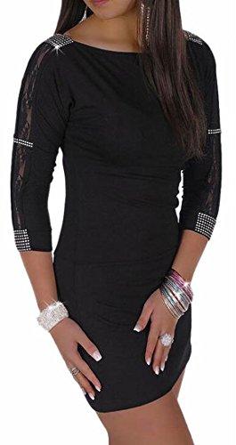 Patchwork Lace Sleeve Mini Sexy Womens Black 3 4 Dress Jaycargogo Bodycon Tqw1CE