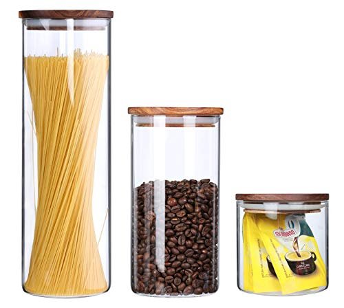 (Clear Glass Canisters With Airtight Lids For The Kitchen Glass Food Storage Jars Wood lids Air Tight Dry Food Storage Containers Pasta Spaghetti Loose Tea Cookie Candy Sugar Jars,3 Piece)