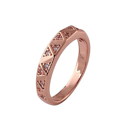 joyliveCY Elegant Women Xmas Gift Rose Gold Filled Plain Cut Smooth Copper Ring Size 8 from joyliveCY