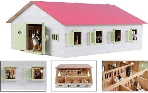 Van Manen Kids Globe Farming Jinete, Granja con 7 Cajas de Caballos, Caballo, con Techo Plegable, 610189, Color Rosa