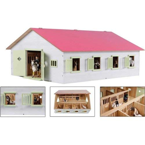 Van Manen Kids 610189 Globe Farming Farm with 7 Horse Boxes Wooden Horse Farm with Folding Roof Pink