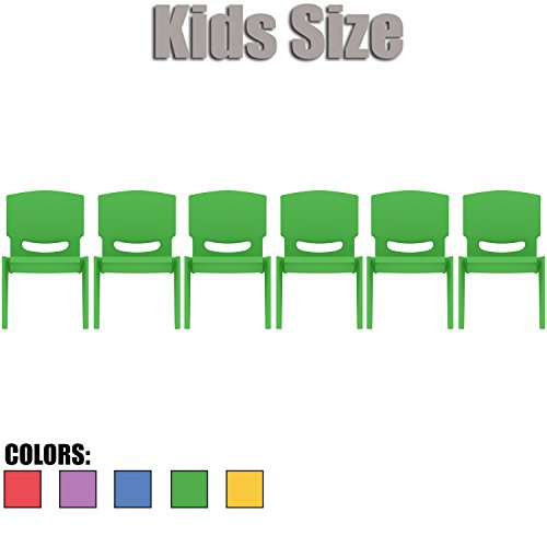 2xhome - Set of Six (6) - Green - Kids Size Plastic Side Chair 10'' Seat Height Green Childs Chair Childrens Room School Chairs No Arm Arms Armless Molded Plastic Seat Stackable by 2xhome