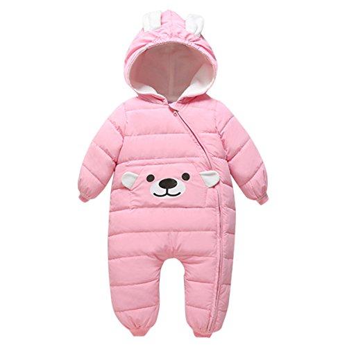 Hooded Snowsuit (Bebone Baby Girls Boys Cartoon Hooded Winter Down Snowsuit(pink,18-24m))