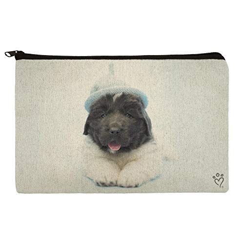 Newfoundland Puppy Dog Knitted Beanie Hat Makeup Cosmetic Bag Organizer Pouch