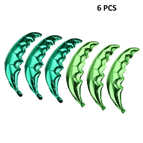 Creaides 6 Pack Coconut Palm Leaves Balloons Helium Foil Green Leaf Balloons for Birthday Wedding Baby Shower Hawaii Luau Party -
