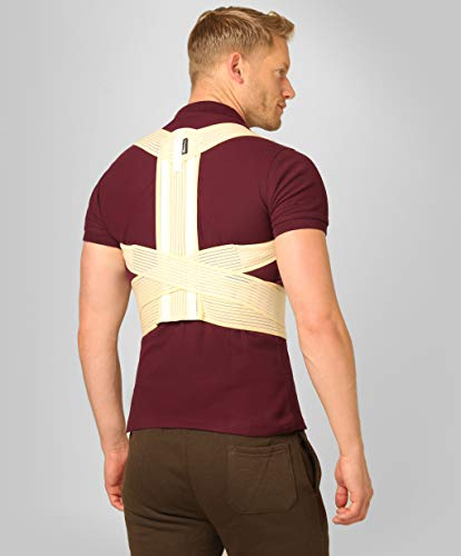 Simple and Reliable - Upper and Middle Back Posture Corrector for Men and Women by BeFit24 - with Metallic Inserts for Additional Strong Support - Size 0 - Beige