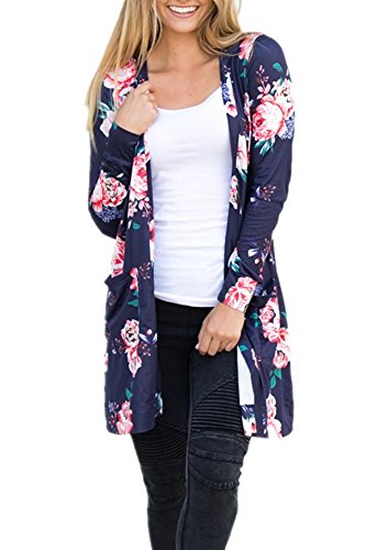 Pxmoda Womens Boho Long Sleeve Floral Print Cardigans Casual Kimono Wrap Coverup Tops (Floral Long Sleeve Cardigan)