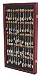 60 Spoon Rack Display Case Holder Wall Cabinet, UV Protection, Lockable (Cherry Finish)
