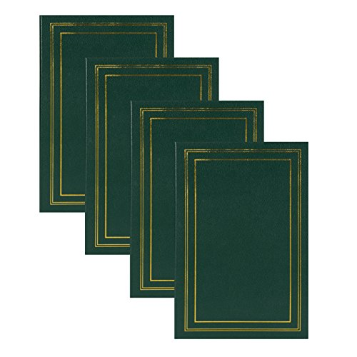 DesignOvation Traditional Photo Albums, Holds 300 4x6 Photos, Set of 4, Dark Green