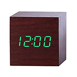 Multicolor Sound Control Wooden LED Alarm Clo Desktop Table Digital Thermometer Wood USB/AAA Date Display,7x7x7(cm) 5